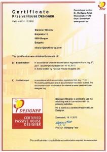 Certificate of designer Passive Houses by arch. Stanislav Nikolov